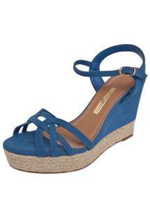 Sandália Via Marte Anabela Corda Azul